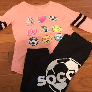 Justice size 8 soccer shirt and leggings